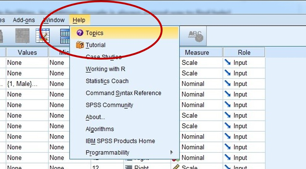 Introduction to SPSS: Getting help