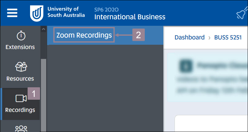 Screenshot showing the Recordings icon in the left hand navigation and the zoom recordings button in the expanded menu.