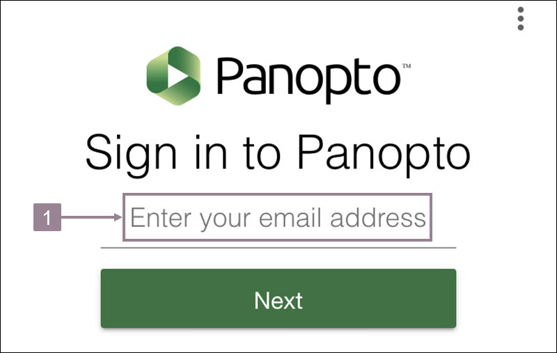 Screenshot showing the sign in page of the panopto app with the email address field.