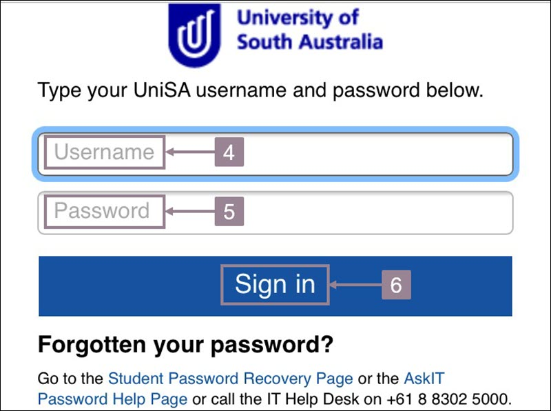 Screenshot showing the UniSA panopto sign in page with username and password field and sign in button.