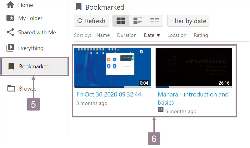 Screenshot showing videos in the bookmarked folder.