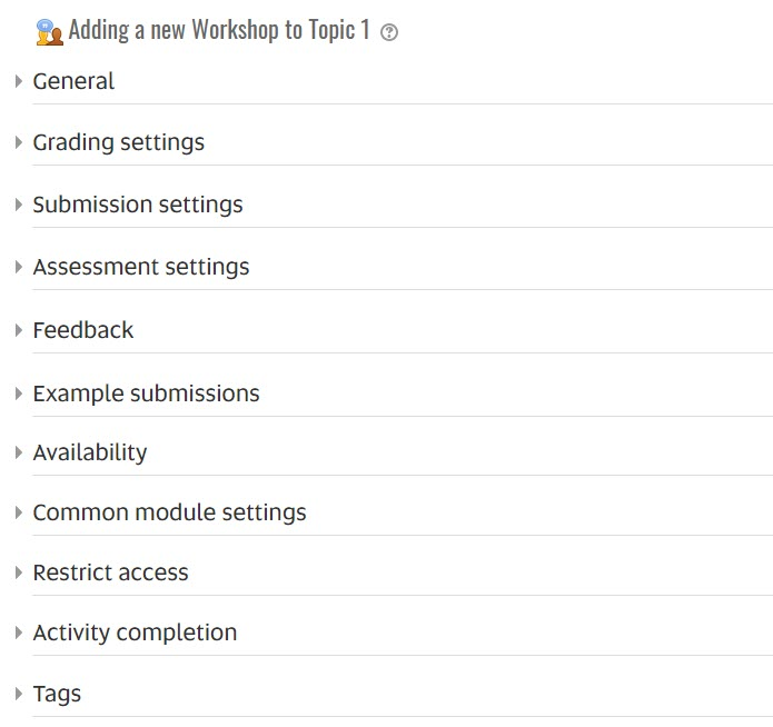 workshop settings