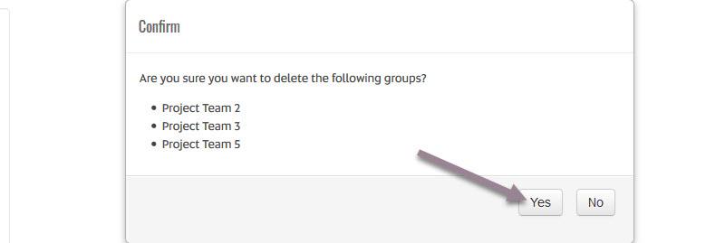 delete groups confirmation