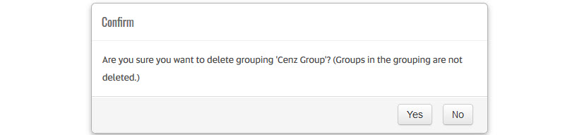 delete grouping confirmation
