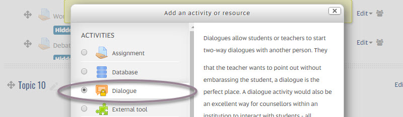 Add an activity or resource_dialogue