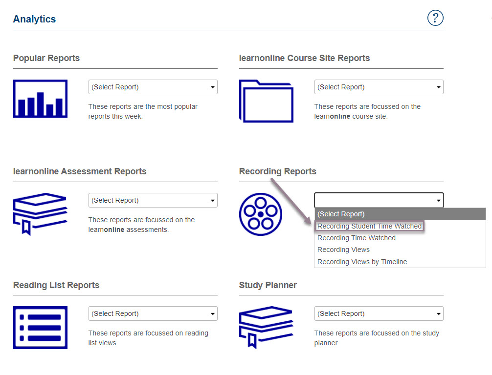 Screenshot of the Analytics dashboard showing how to select recording reports as outlined in above text