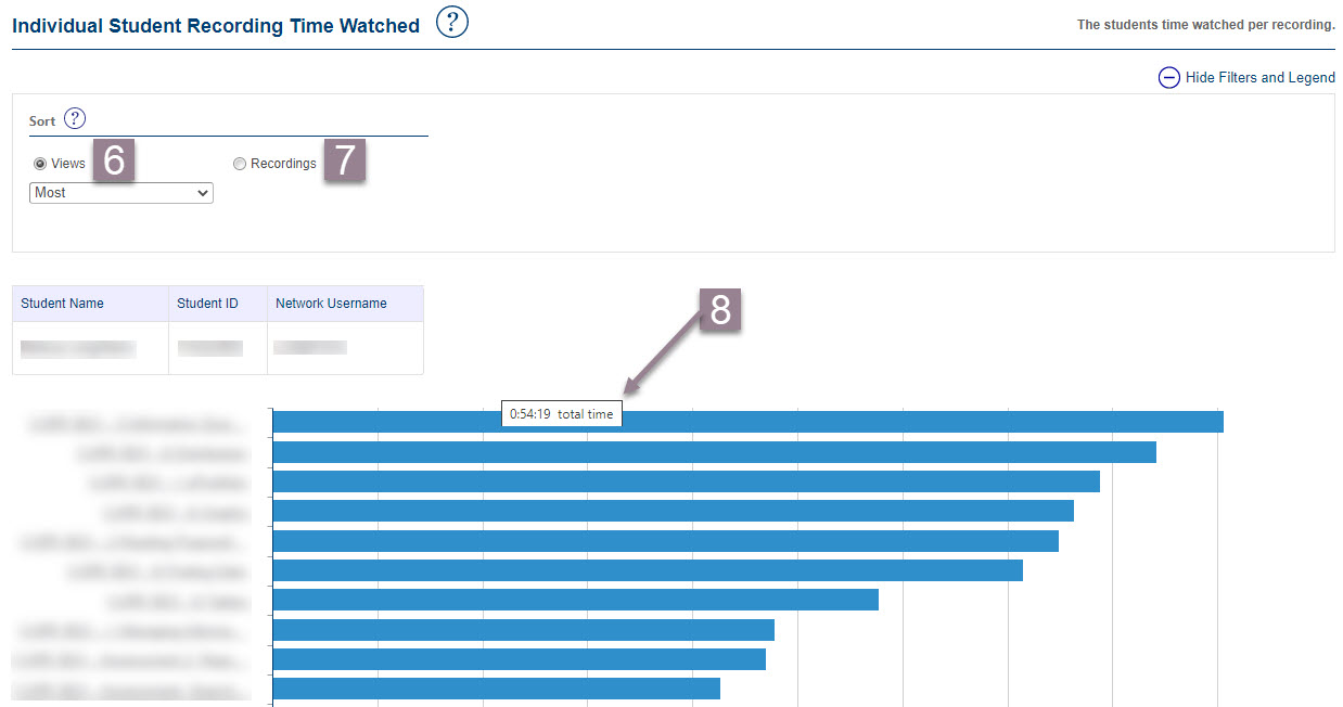 "screenshot of the ""Individual Student Recording Time Watched"" dashboard showing all steps described in the text above"