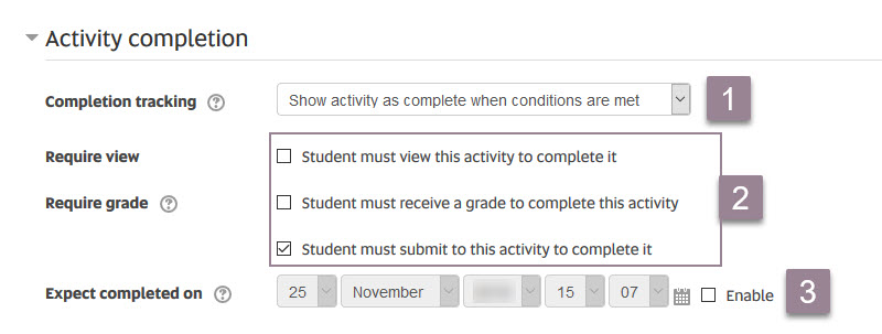 Activity completion_options