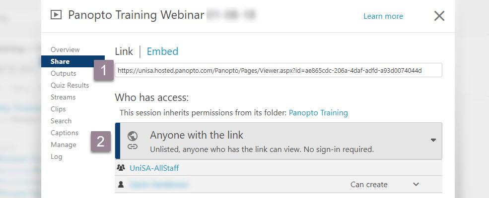 panopto_sharing links