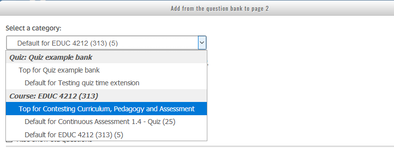 quiz edit - add question - select category
