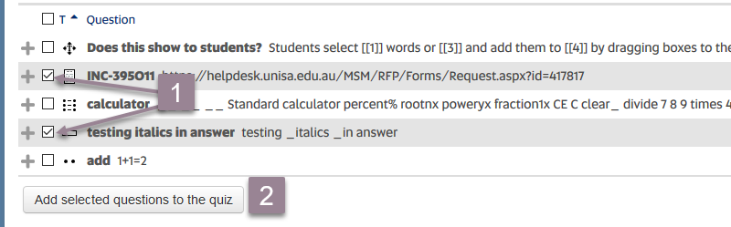 adding multiple questions from bank