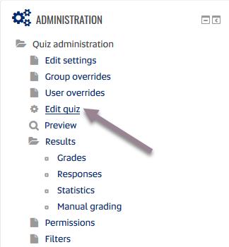 quiz - admin block - edit quiz