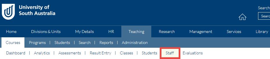 Teaching Portal_staff tab
