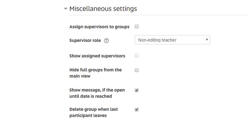 group self select_Miscellaneous settings