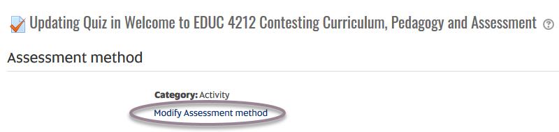 quiz - modify assessment method