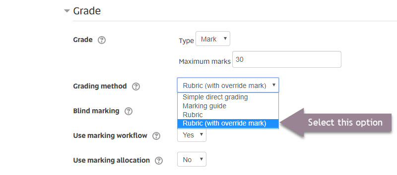 assignment settings_rubric override