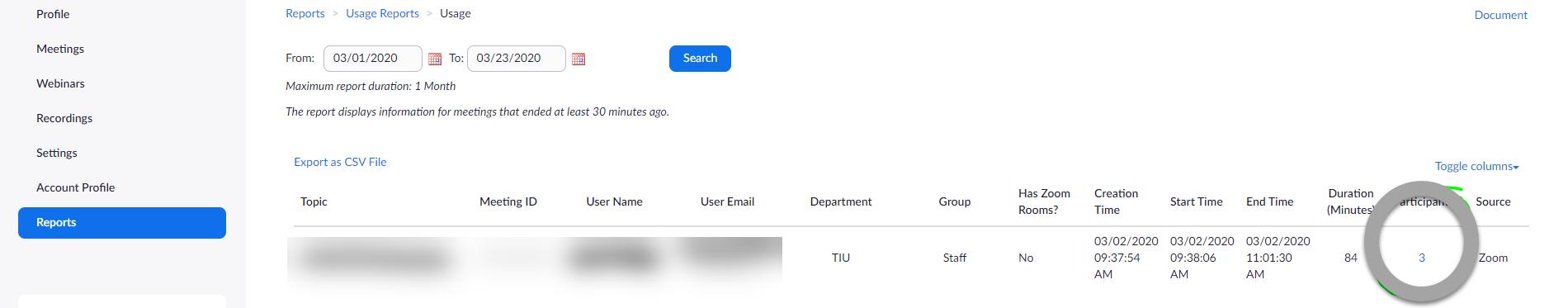 Screenshot of hyperlink of participants number
