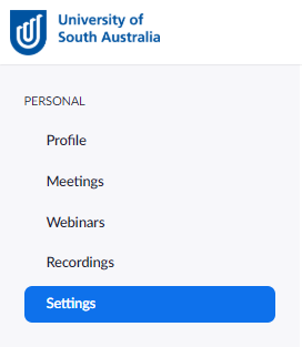 Settings in portal for zoom