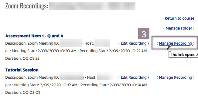 Image of Zoom Recordings list with Manage Recording highlighted.