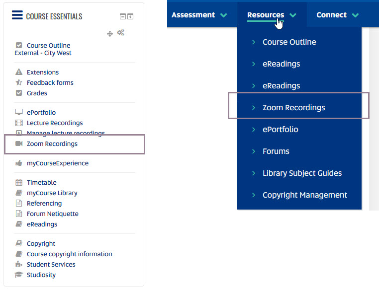 Image of Course Essentials and Resource drop down with Zoom Recordings folder highlighted