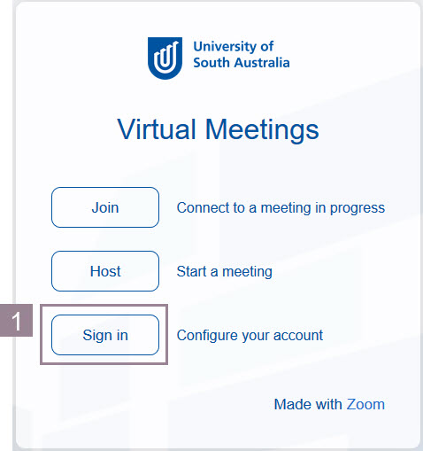 Image of Zoom login screen with Sign in highlighted.