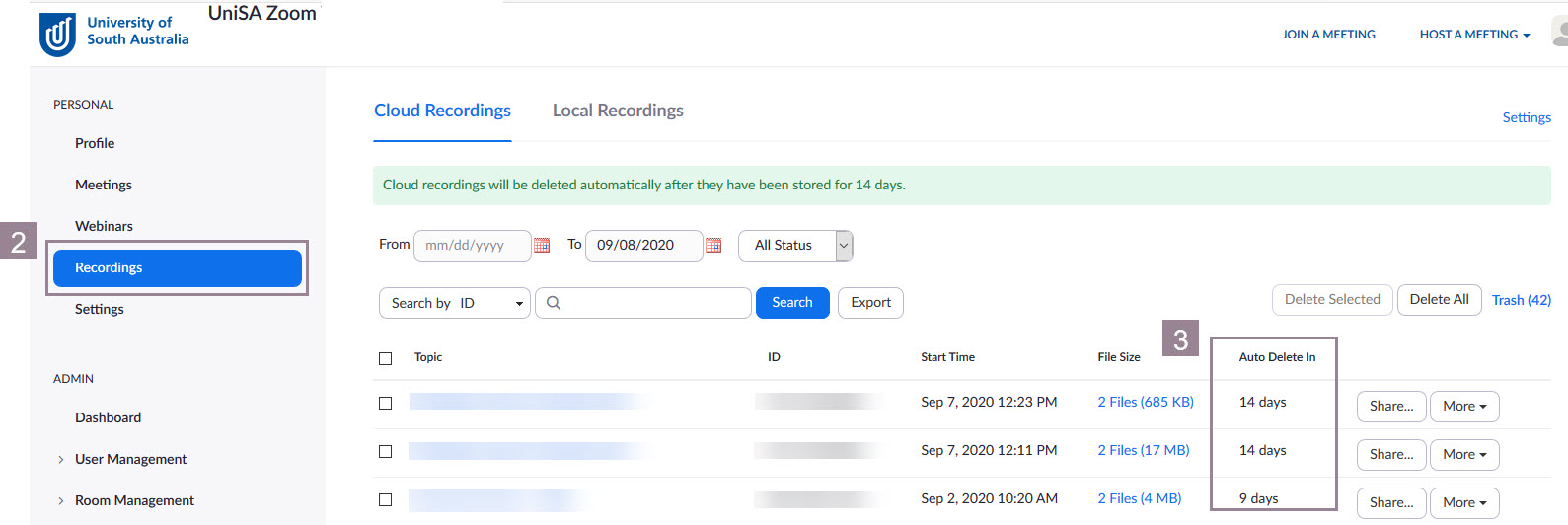 Image of Zoom Cloud Recordings screen with Recordings highlighted.