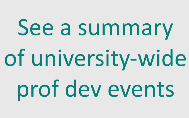 See a summary of university-wide professional development events