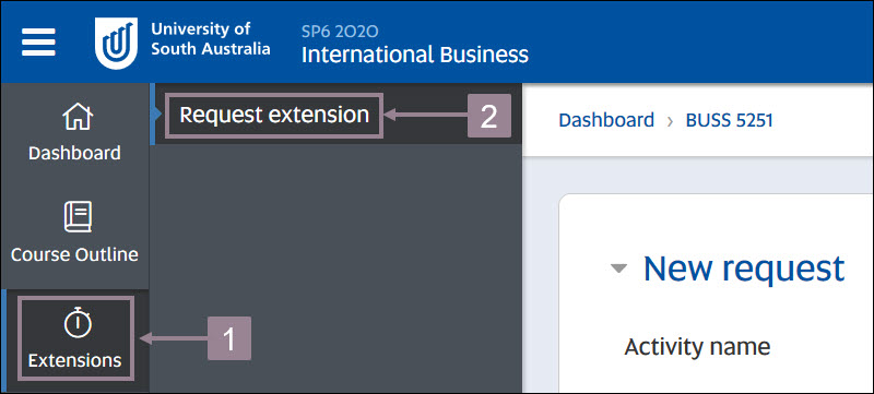 Screenshot showing the Extensions icon in the left hand menu and the request extensions button in the expanded menu.