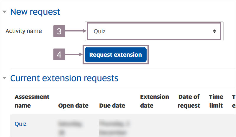 Screenshot showing the activity name drop down option and the request extension button.
