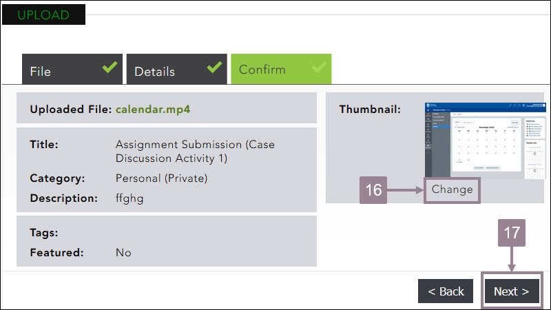 Screenshot of the confirm section of the media upload.