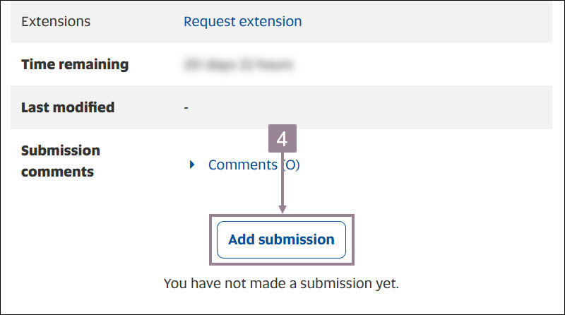 Screenshot showing the add submission button of an assignment