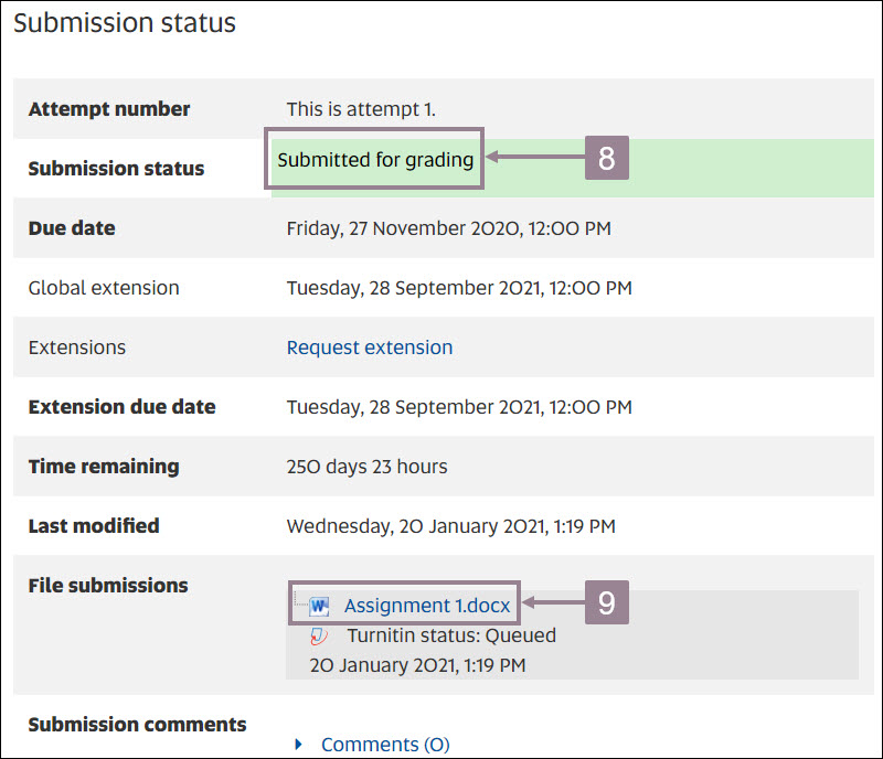 Screenshot showing the submission window after a successful submission.