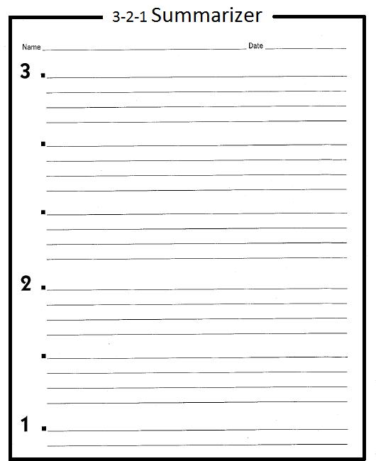 3-2-1 Summariser [Source: https://ustrimester2.wikispaces.com/Formative+Assessment+Ideas]